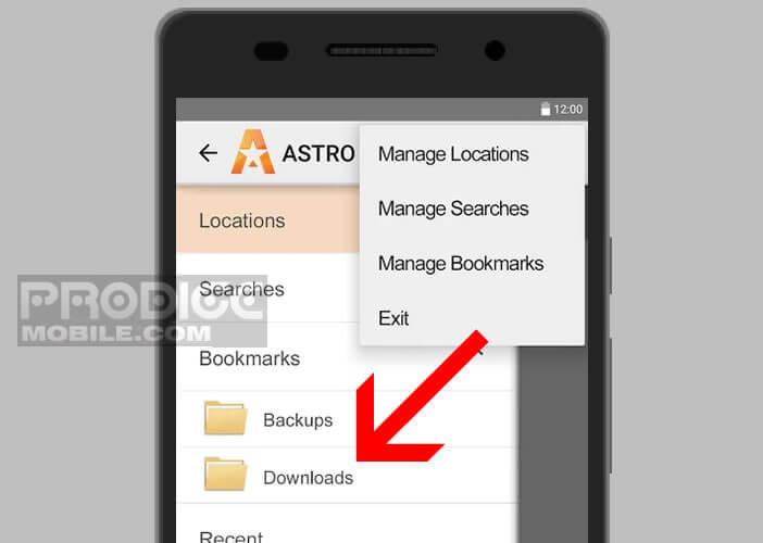 Accéder au répertoire Download depuis l'appli Astro gestionnaire de fichiers