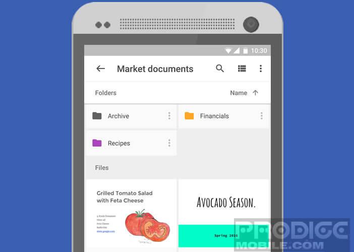 Google Drive l'application de cloud du géant américain