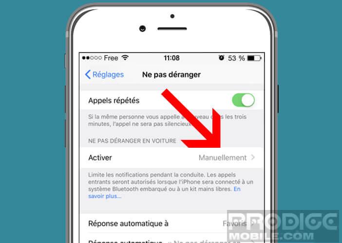 Activer la fonction ne pas déranger en voiture sur un iPhone