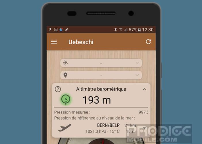 Utiliser l'altimètre barométrique de votre mobile