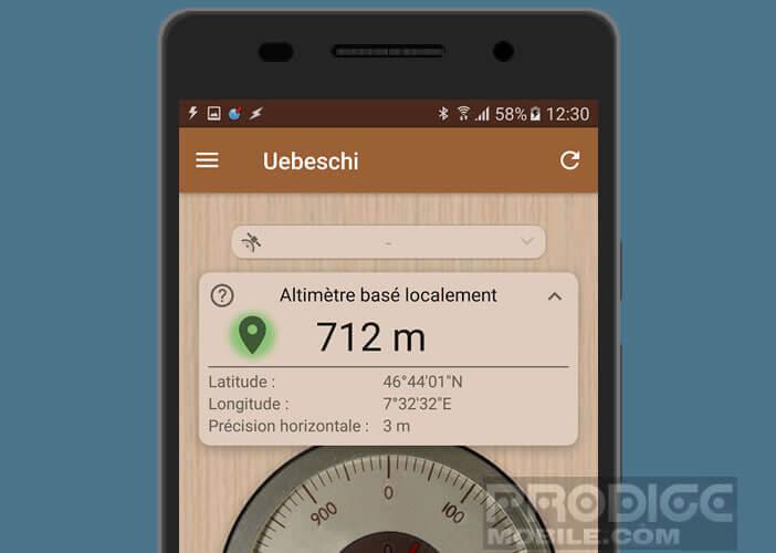 Application d'altimètre pour smartphone Android