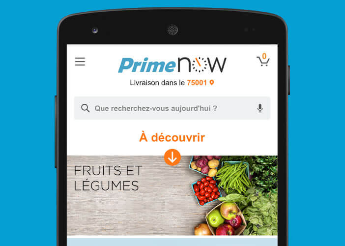Passer commander depuis l'application Amazon Prime Now