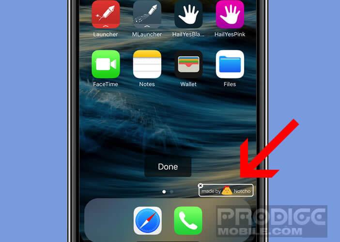 Filigrane ajouté automatiquement au fond d'écran