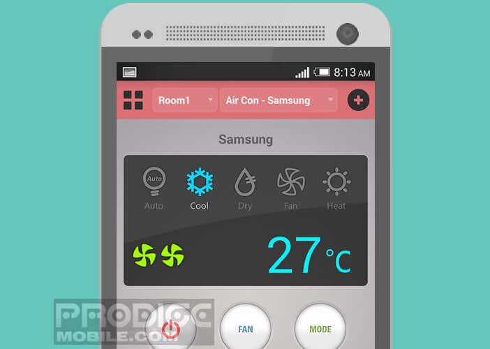 Interface de l'application Asmart Remote pour régler un climatiseur