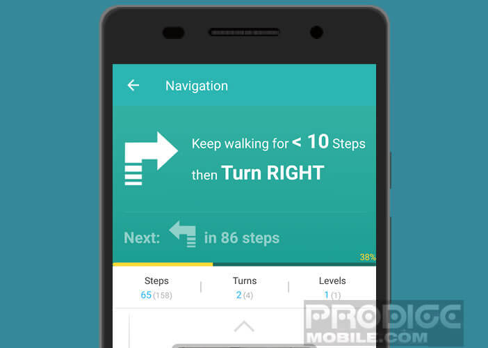 Lancer le mode navigation dans l'application Path Guide