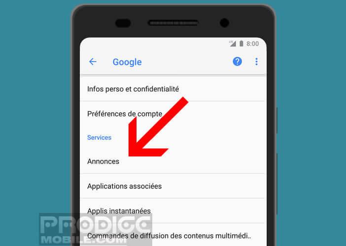 Personnaliser les paramètres d'affichages des annonces pub sur Android