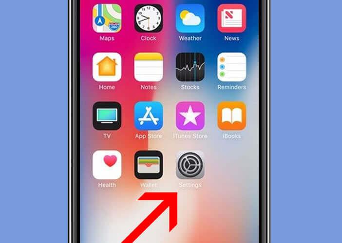 Lancer les réglages de l'iPhone X