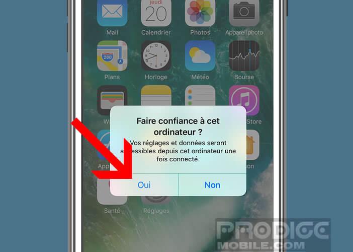 Donner la confiance à un ordinateur pour forcer iTunes à reconnaître votre iPhone