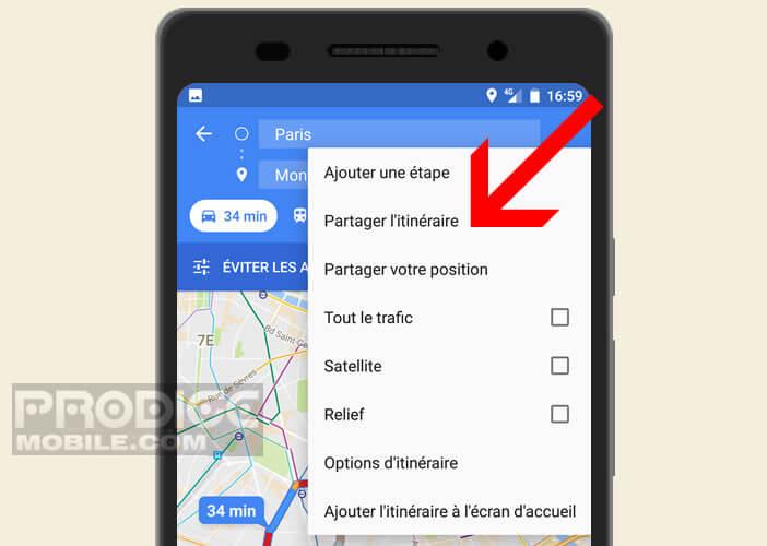 Envoyer l'itinéraire créé sur Maps par mail, SMS ou appli de messagerie