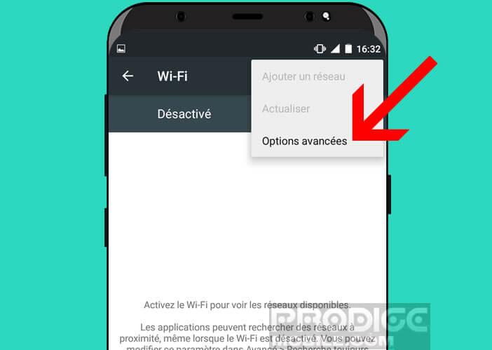 Accéder aux options avancées de la rubrique Wi-Fi de votre smartphone