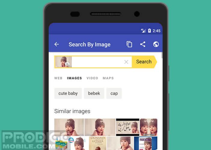 Effectuer une recherche sur une image provenant d'une application