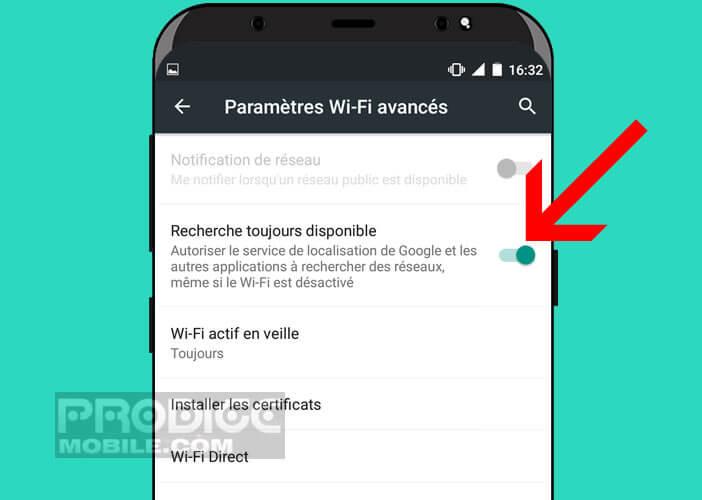 Empêcher la recherche de réseaux même si le Wi-Fi est désactivé