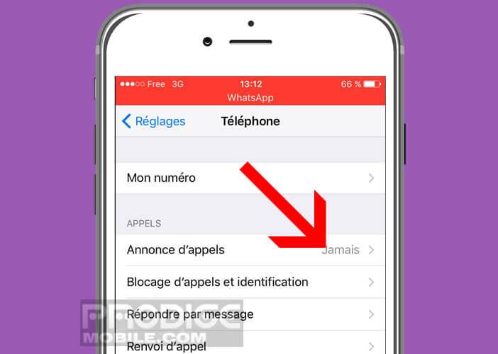 Activer la fonction d'annonce d'appels sur un iPhone