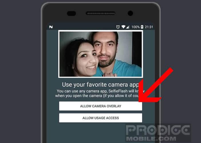 Autoriser Selfie Flash à fonctionner en superposition d'écran