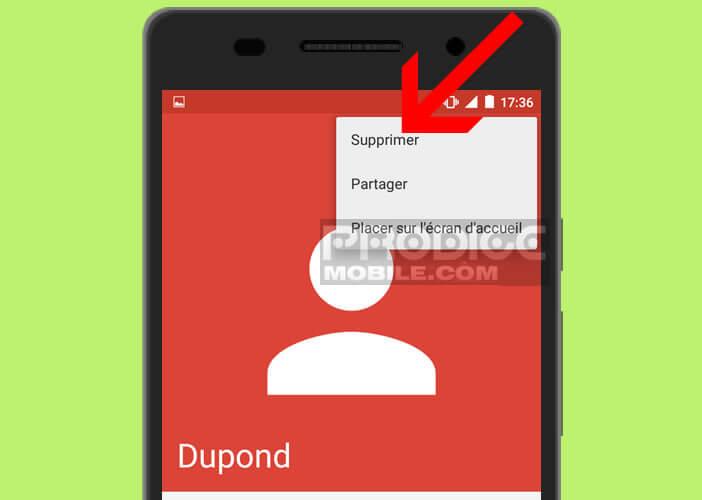 Effacer dans l'appli répertoire une fiche contact dupliquée