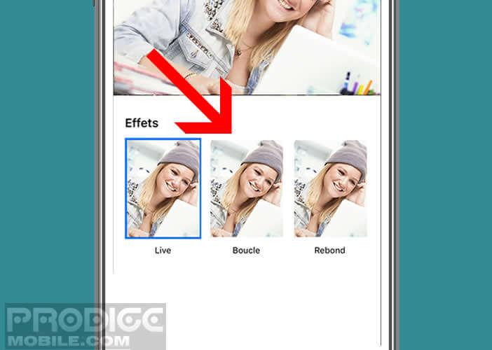 Ajouter à votre animation l'un des effets proposés par l'iPhone
