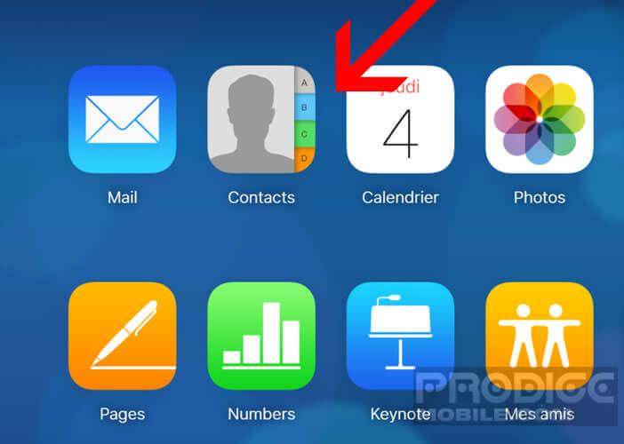 Lancer la fonction carnet d'adresses d'iCloud