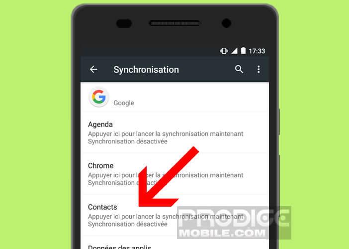 Lancer la sauvegarde de vos contacts sur le cloud de Google