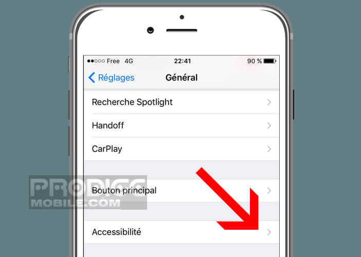 Ouvrir les options d'accessibilité de l'iPhone