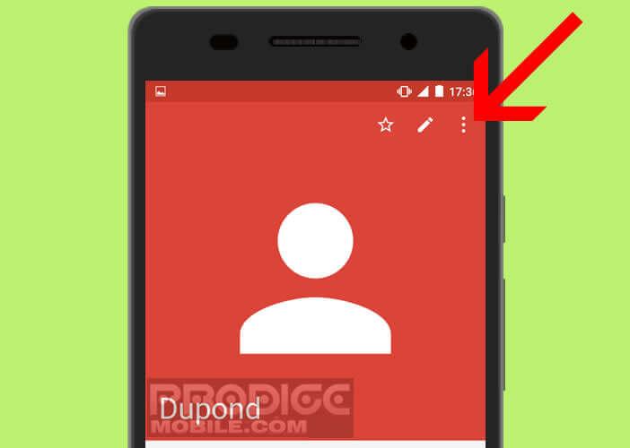 Ouvrir la fiche d'un contact pour modifier ses coordonnées