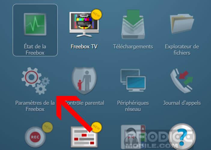 Ouvrez les paramètres de votre box depuis l'interface Freebox OS