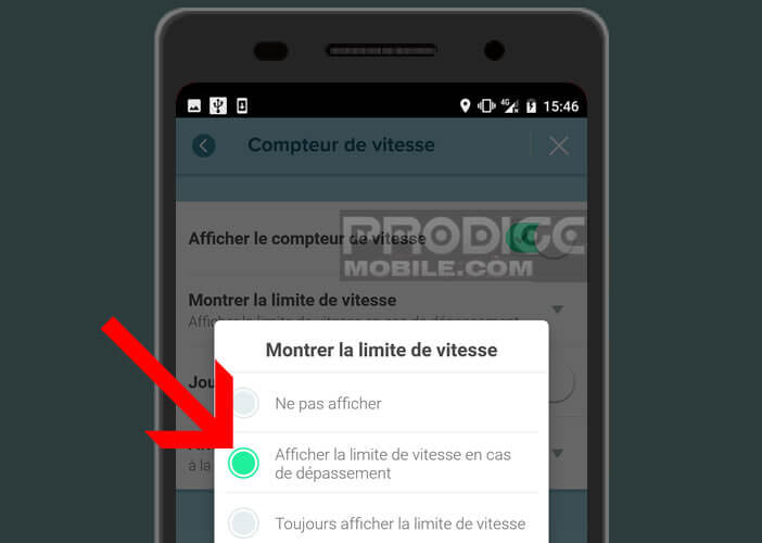 Activer les notifications en cas de dépassement de la vitesse maximale