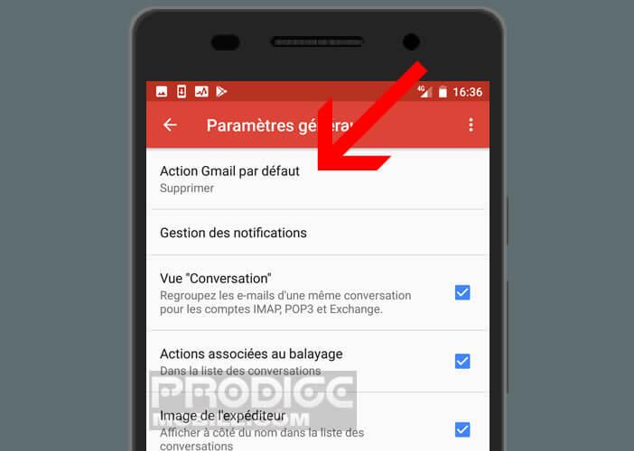 Définir une nouvelle action dans Gmail