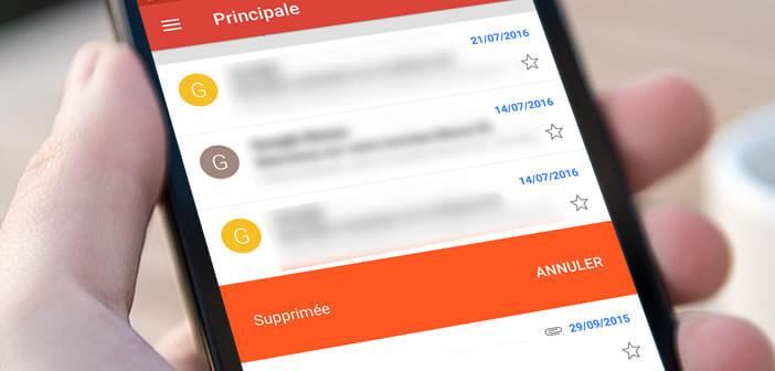 Méthode très efficace pour supprimer rapidement un e-mail dans l'appli Gmail