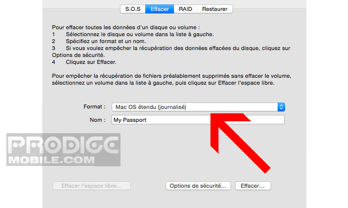 Formater votre unité de stockage au format Mac OS étendu