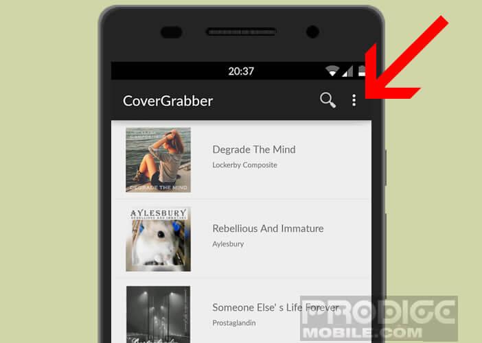 Recherchez vos nouveaux fichiers MP3 via le menu de l'appli Album Art Downloader