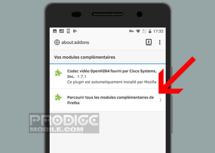 Choisissez dans le menu la liste des extensions disponibles pour Android