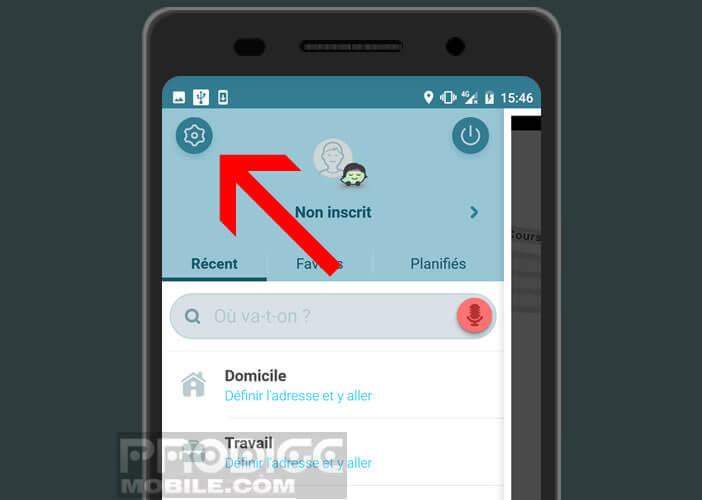 Lancez les paramètres de l'application GPS collaboratif Waze