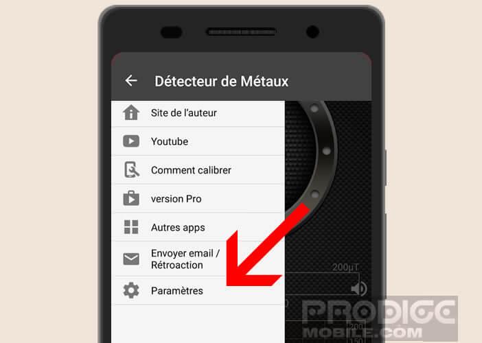 Modifier les paramètres de l'application Metal Detector