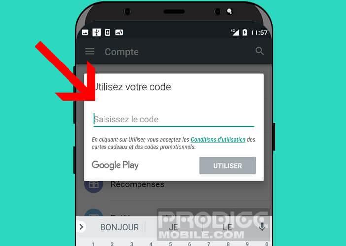 Saisir dans l'application le code Google figurant sur votre carte cadeau