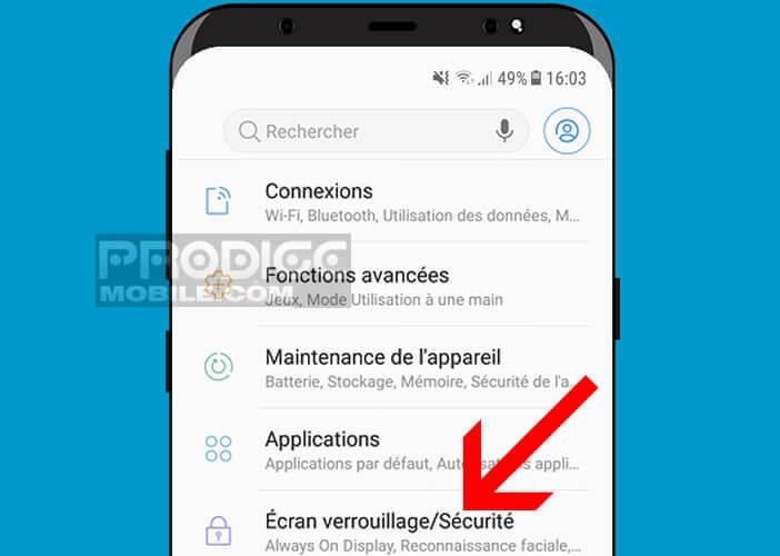 Ouvrir les paramètres de l'écran de verrouillage du Samsung S9