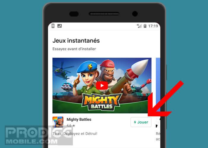 L'application Google Play Jeu permet de profiter de Instant Apps