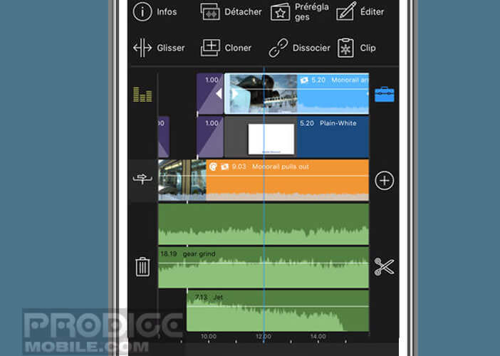 L'application propose une interface avec trois pistes vidéo