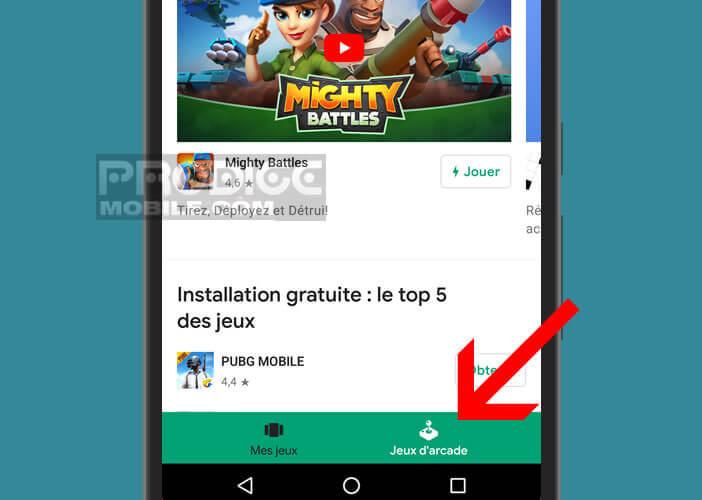 Ouvrez l'onglet jeu Arcade dans l'application