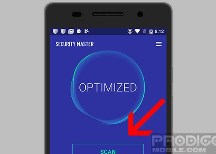 Lancer un scan manuel depuis l'application CM Security Master