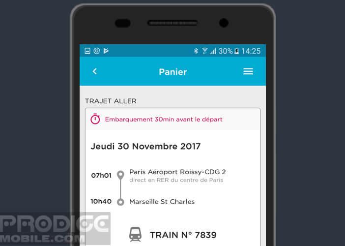 L'application Ouigo affiche le résumé de votre voyage sur votre mobile Android