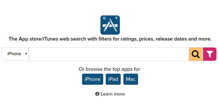 Site internet spécialisé dans la recherche d'applications pour iPhone et iPad