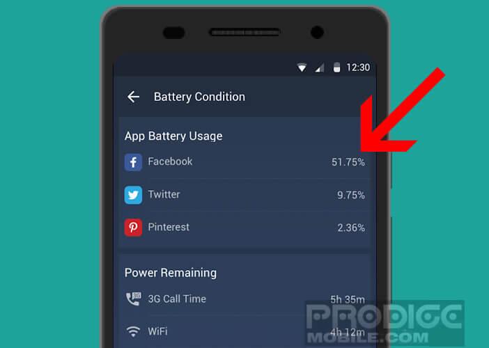 Liste des applications en fonction de l'usage de la batterie