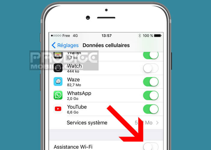 Désactiver l'option d'Assistante Wi-Fi disponible sur iOs