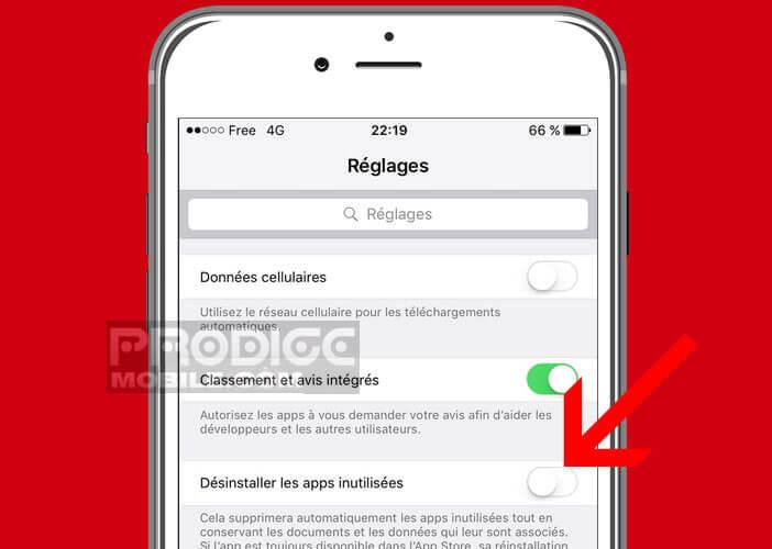 Désactiver la fonction désinstaller les apps inutilisées sur un iPhone