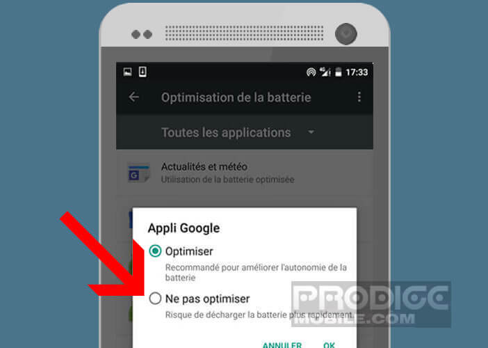 Exclure les applications liées à un widget de Doze