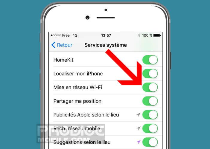 Modifier les services système Wi-Fi de l'iPhone d'Apple