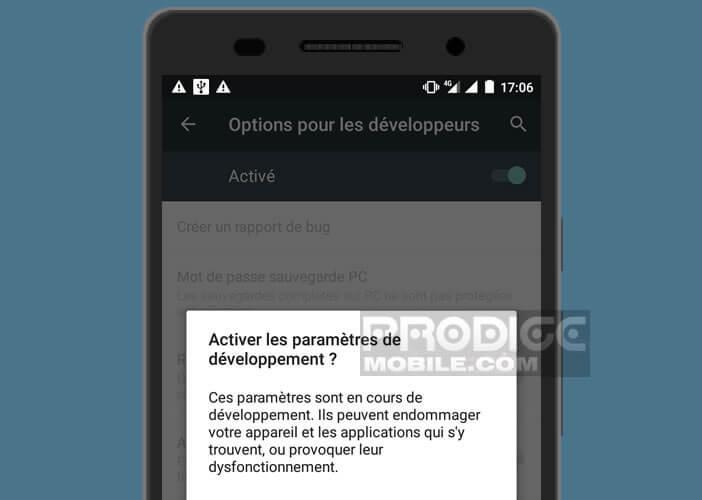 Autoriser Android à activer les paramètres de développement de votre mobile