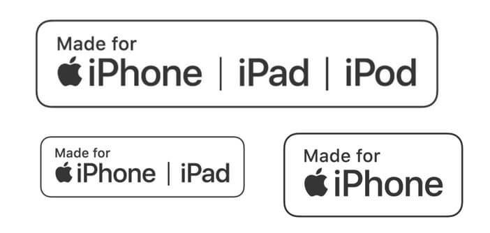 Logo du programme de certification Apple présent sur les emballages des accessoires