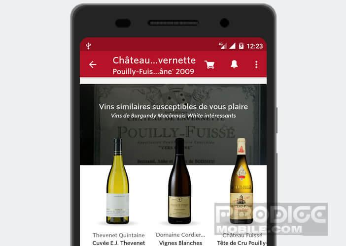 Afficher une liste de vins similaires