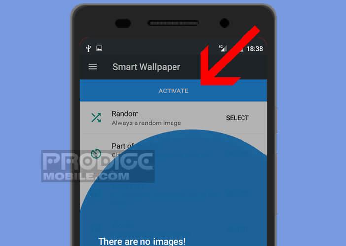 Installer appli smart wallpaper pour installer un thème foncé